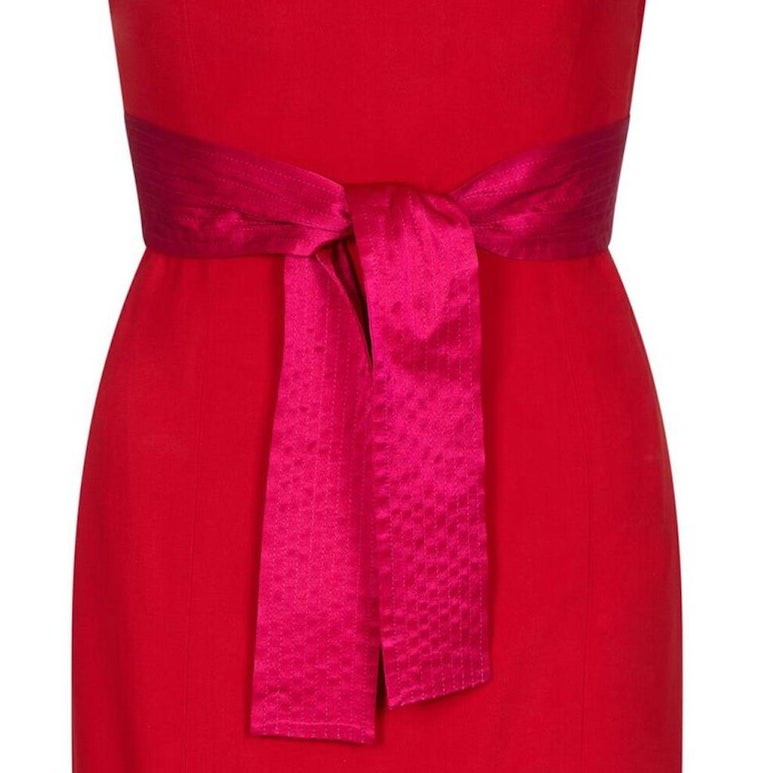 Gianfranco Ferre 1980s Crimson Cocktail Dress With Shocking Pink Fan Detail In Excellent Condition For Sale In London, GB