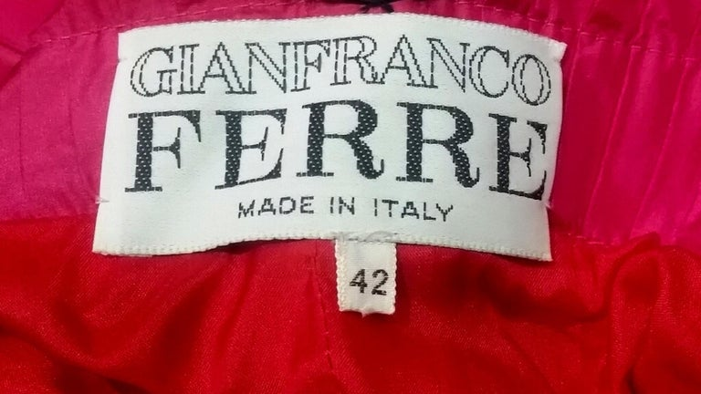 Gianfranco Ferre 1980s Crimson Cocktail Dress With Shocking Pink Fan Detail For Sale 1