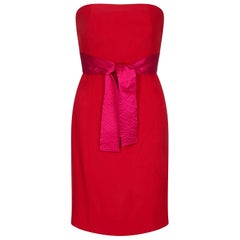 Gianfranco Ferre 1980s Crimson Cocktail Dress With Shocking Pink Fan Detail