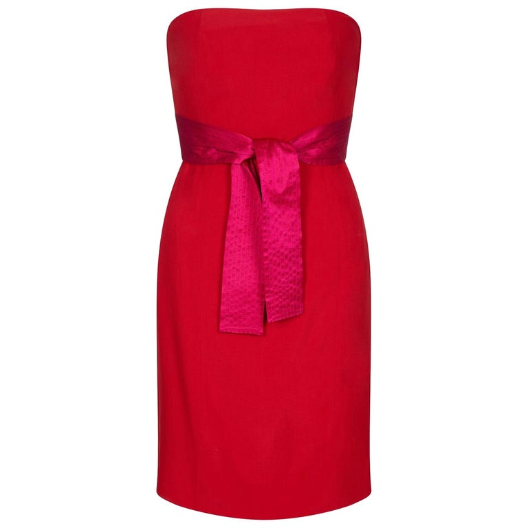 Gianfranco Ferre 1980s Crimson Cocktail Dress With Shocking Pink Fan Detail For Sale