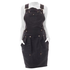 Gianfranco Ferré 1990S Black Leather Overall Dress Sold