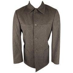 GIANFRANCO FERRE 36 Brown Wool Patch Pockets Long Jacket