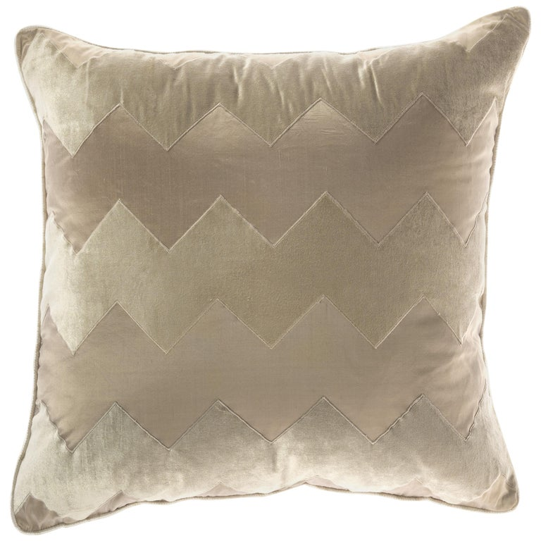 Gianfranco Ferre Alameda Beige Cushion in Velvet and Shantung For Sale