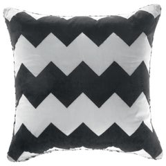 Gianfranco Ferré Alameda Black and White Cushion in Velvet and Shantung
