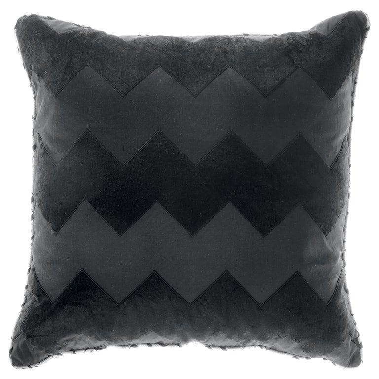 Gianfranco Ferré Alameda Black Cushion in Velvet and Shantung For Sale