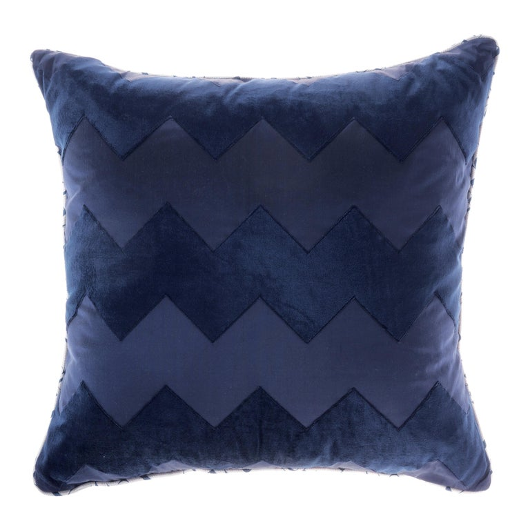 Gianfranco Ferré Alameda Blue Cushion in Velvet and Shantung For Sale