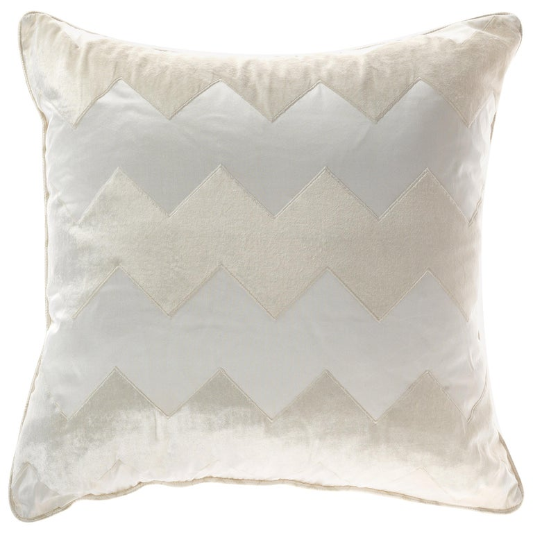 Gianfranco Ferré Alameda White Cushion in Velvet and Shantung For Sale
