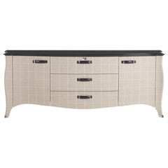 Gianfranco Ferré Angie Side Board in Poplar and Iconic Wool Upholstery