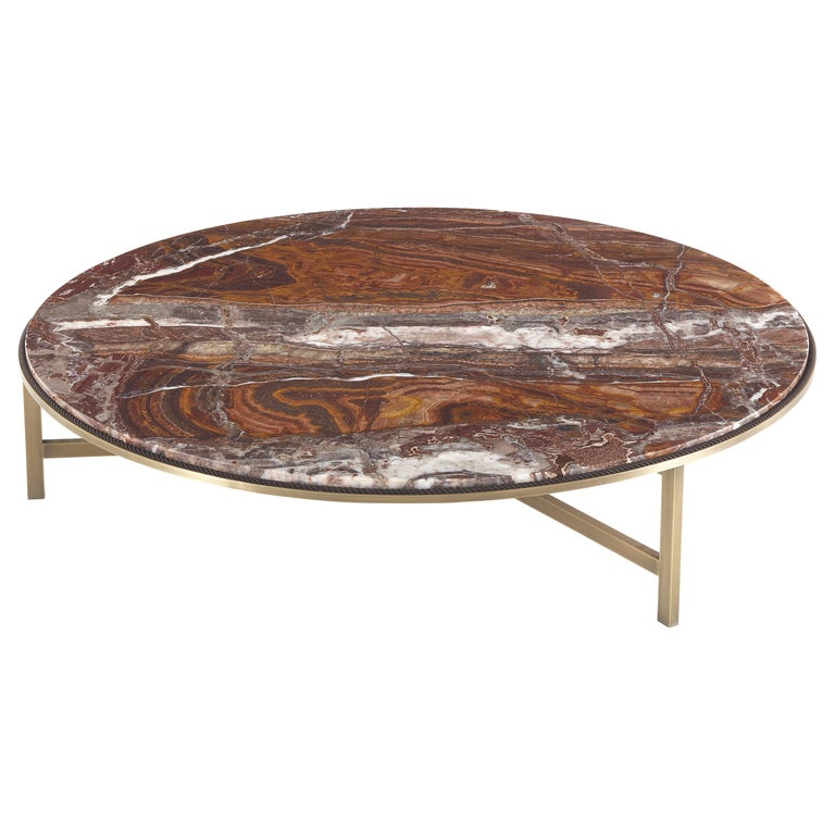 Gianfranco Ferrè Ascott Center Table Metal and Red Onyx For Sale
