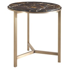 Gianfranco Ferré Home Ascott Side Table in Metal and Marble Top