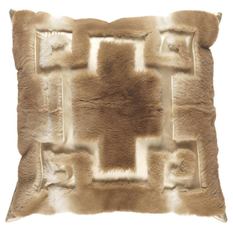 Gianfranco Ferré Athena Negative Beige Cushion in Orylag For Sale