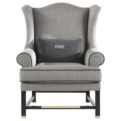 Gianfranco Ferré Home Ayla Armchair in Galles Grey Woven Fabric