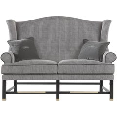 Gianfranco Ferre Ayla Two-Seat Sofa in Grey Fabric