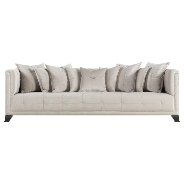 Gianfranco Ferre Barney 4-Seat Sofa in Clear Grey Winter Cotton Upholstery