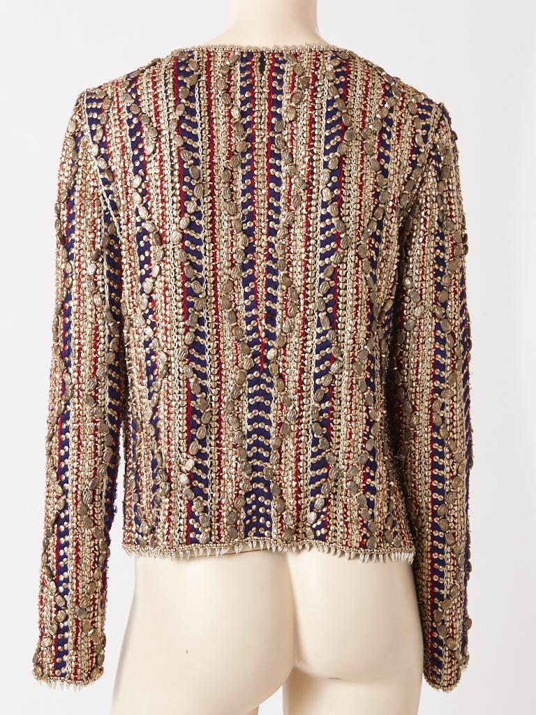 Brown Gianfranco Ferre Beaded Evening Jacket For Sale