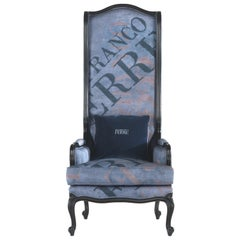 Gianfranco Ferré Big Ben Armchair in Jacquard Blue Upholstery