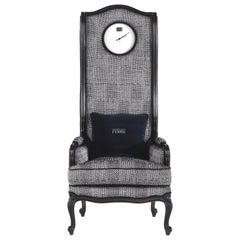 Gianfranco Ferre Big Ben Armchair with Clock in Winter Woven Upholstery
