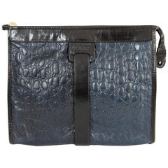 Gianfranco Ferrè Black and Blue Clutch Crocodile Leather Print 1980s Handbag