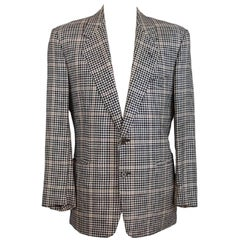 Gianfranco Ferre Black Beige Silk Wool Check Classic Jacket