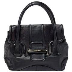 Gianfranco Ferre Black Leather Flap Satchel