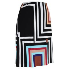 Gianfranco Ferre Black Pink Viscose Striped A Line Skirt
