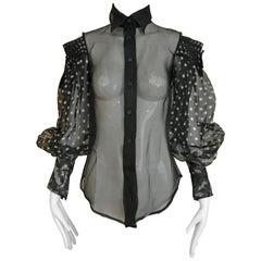 Gianfranco Ferre Black Polka dot Silk Blouse