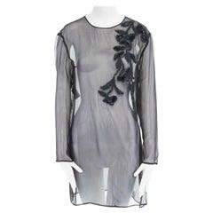 GIANFRANCO FERRE black sheer silk wool yarn embroidered tunic kaftan top IT38 XS