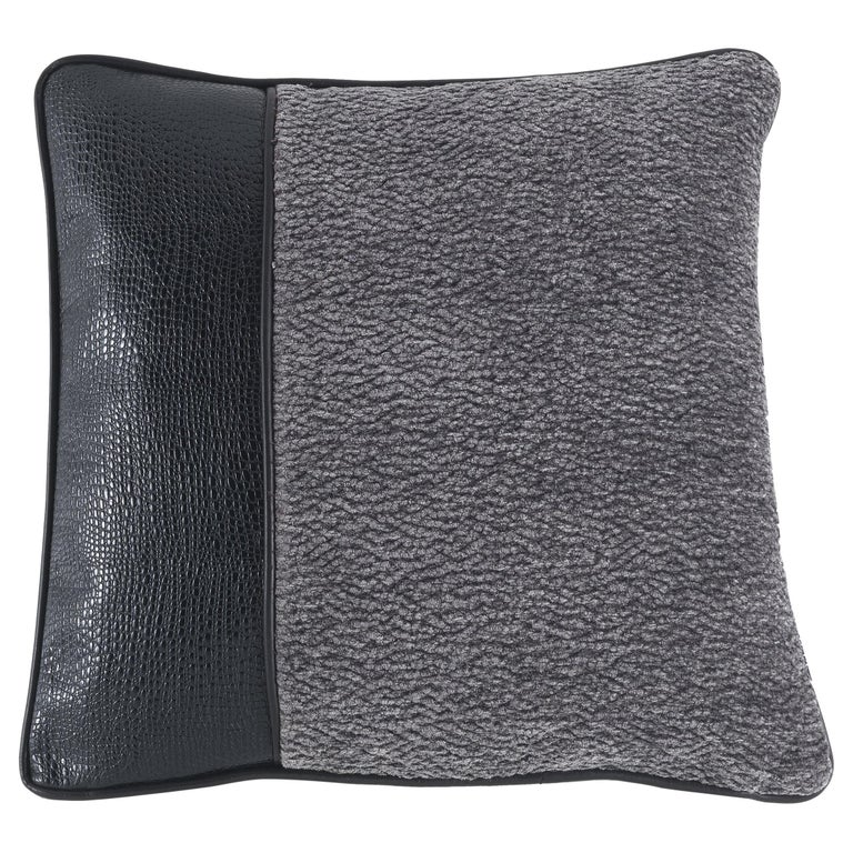 Gianfranco Ferré Boedo Cushion in Fabric and Leather For Sale