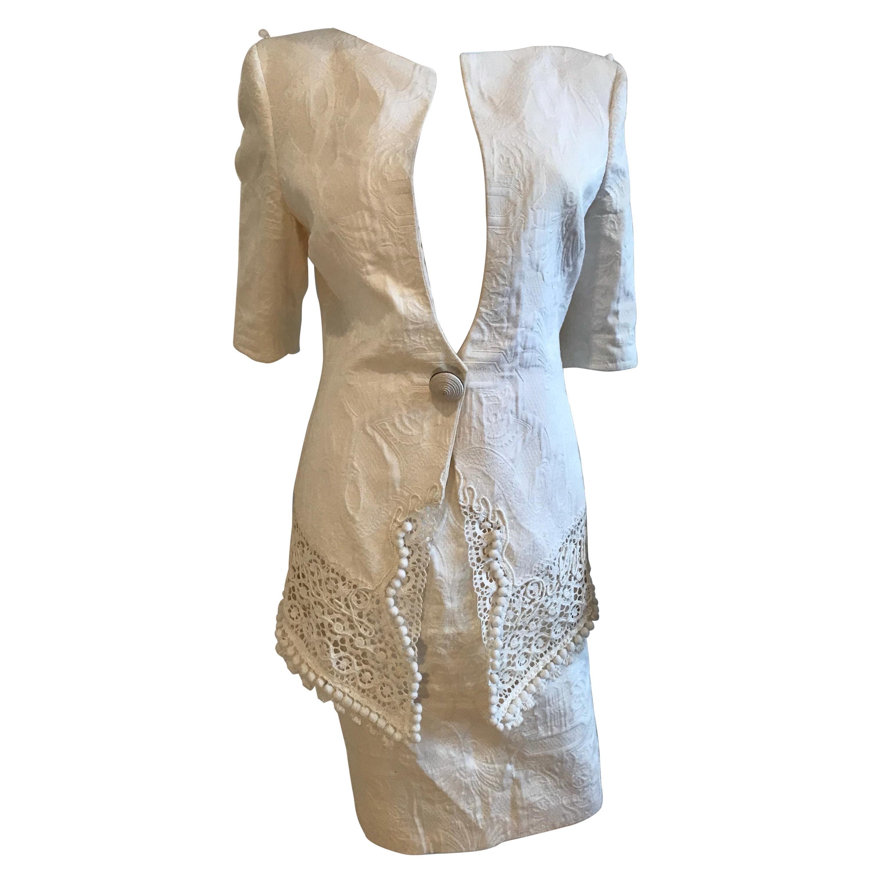 Gianfranco Ferre Brocade Crochet Lace & Pom Pom Detail Jacket and Skirt Ensemble