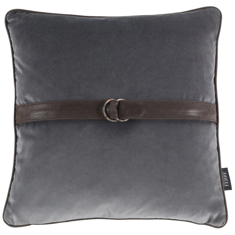 Gianfranco Ferré Brooklyn Cushion in Fabric and Leather For Sale
