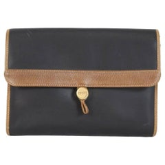 Gianfranco Ferre Brown Black Leather Clutch Bag