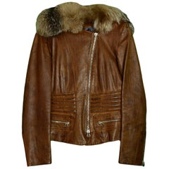 Gianfranco Ferre Brown Distressed Leather Jacket w/ Fur Collar sz 40