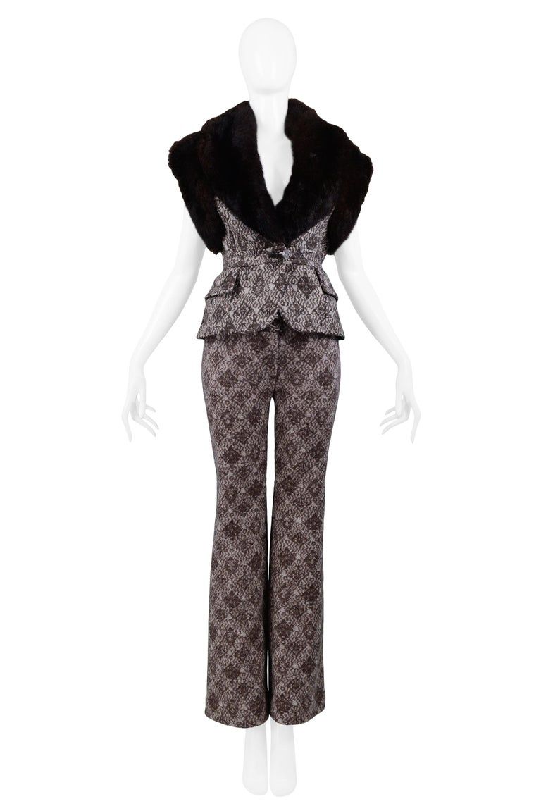 Black Gianfranco Ferre Brown Fur & Geometric Print Vest and Pants Ensemble 2006 For Sale