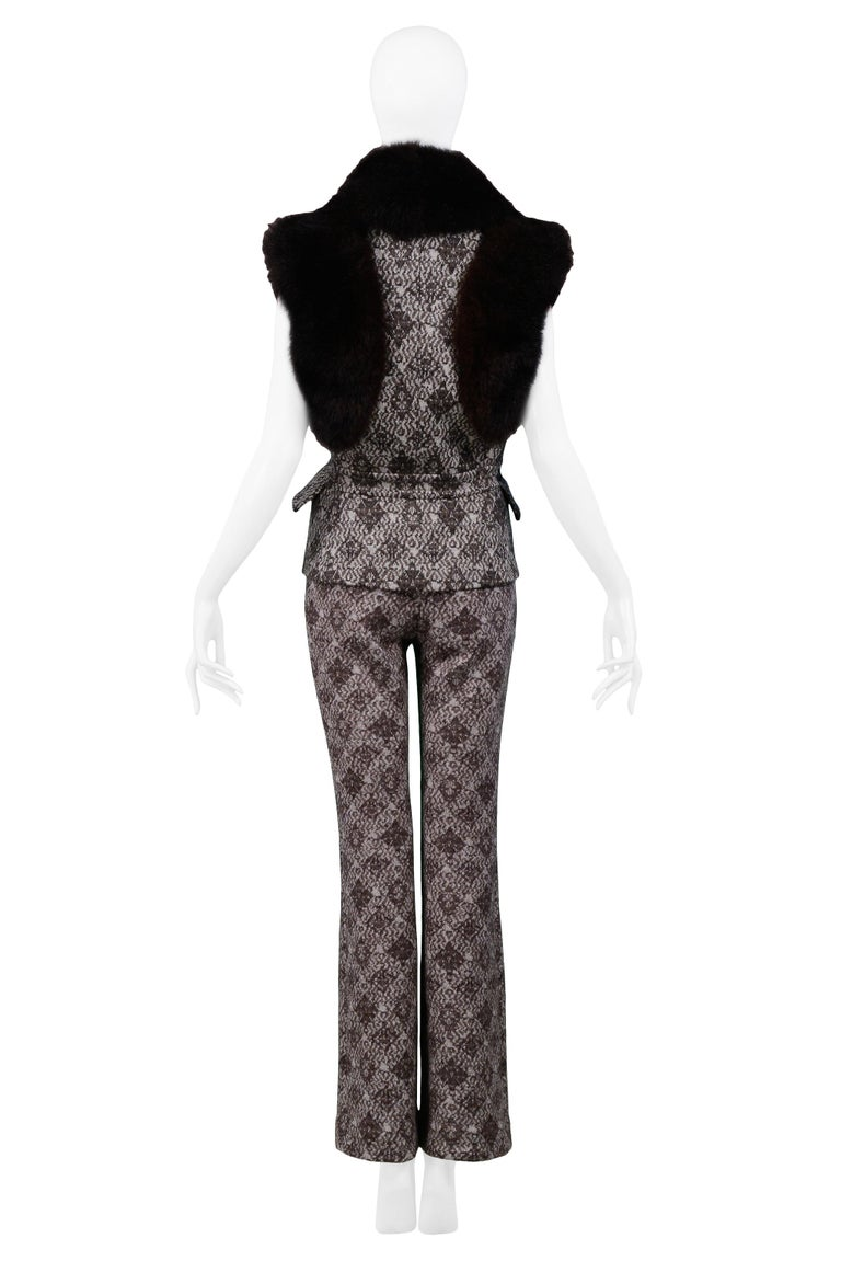 Gianfranco Ferre Brown Fur & Geometric Print Vest and Pants Ensemble 2006 For Sale 1