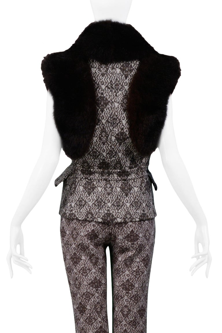 Gianfranco Ferre Brown Fur & Geometric Print Vest and Pants Ensemble 2006 For Sale 2