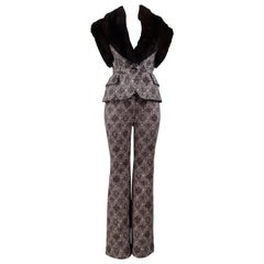 Gianfranco Ferre Brown Fur & Geometric Print Vest and Pants Ensemble 2006