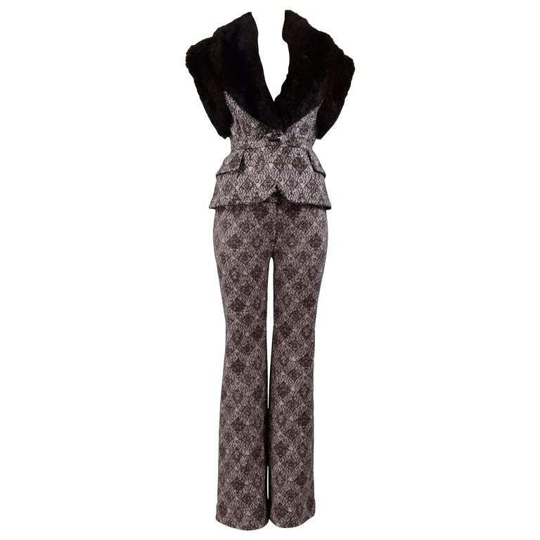 Gianfranco Ferre Brown Fur & Geometric Print Vest and Pants Ensemble 2006 For Sale