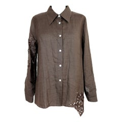Gianfranco Ferre Brown Linen Embroidery Beaded Oversize Shirt 1980s
