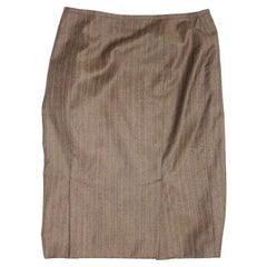 Gianfranco Ferre Brown Red Wool Pinstripe Skirt