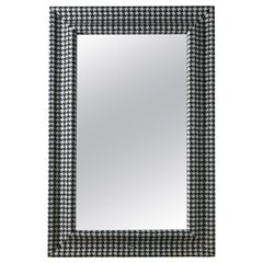 Gianfranco Ferré Home Byron Mirror in Wood with Frame in Black & White Fabric