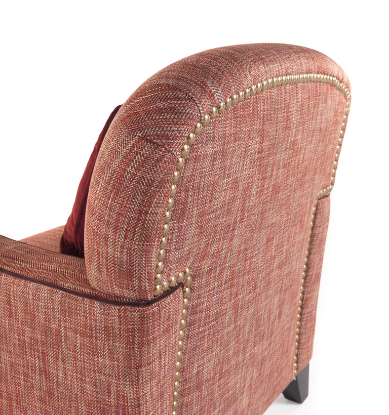 Gianfranco Ferré Home Cardiff Armchair In Woven Chevron Lobster Fabric For Sale At 1stdibs