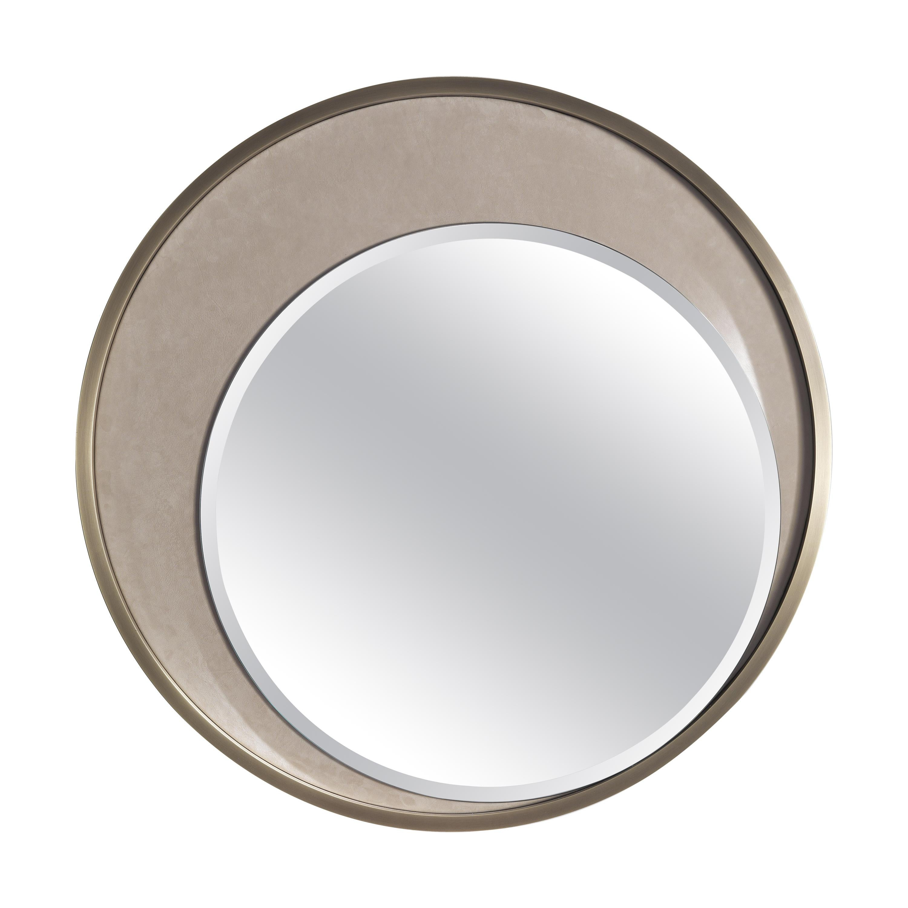 Gianfranco Ferré Home Carroll Mirror with Frame in Metal and Leather