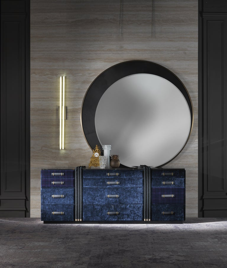 Modern Gianfranco Ferré Home Carroll Mirror covered in Leather For Sale
