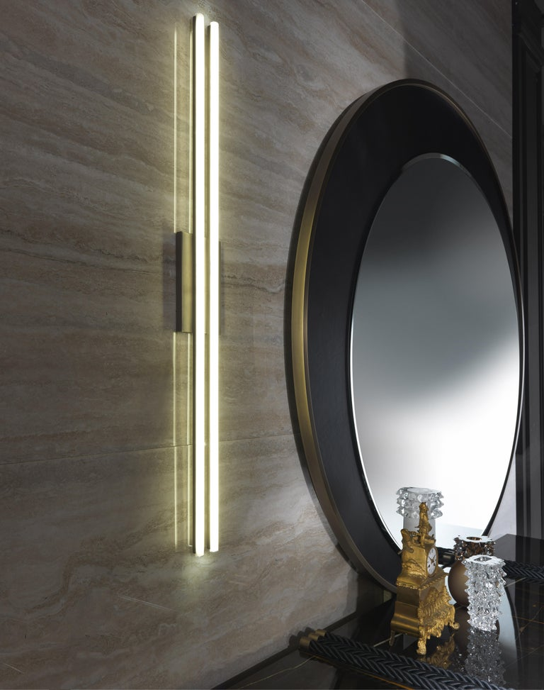 Italian Gianfranco Ferré Home Carroll Mirror covered in Leather For Sale