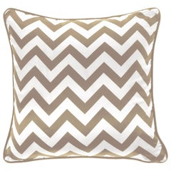 Gianfranco Ferré Home Chevron Large Beige Cushion in Silk and Velvet