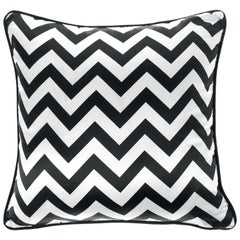 Gianfranco Ferré Home Chevron Large Black Cushion in Silk and Velvet