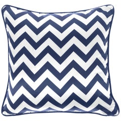 Gianfranco Ferré Home Chevron Large Blue Cushion in Silk and Velvet