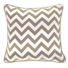 Gianfranco Ferré Chevron Large Pillow in Beige & White Stripes in Silk & Velvet