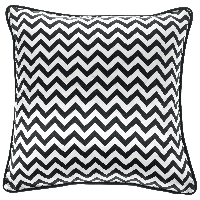 Gianfranco Ferré Home Chevron Medium Black Cushion in Silk and Velvet