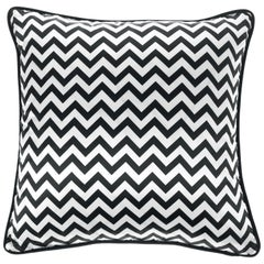 Gianfranco Ferré Home Chevron Medium Black Cushion in Silk and Velvet